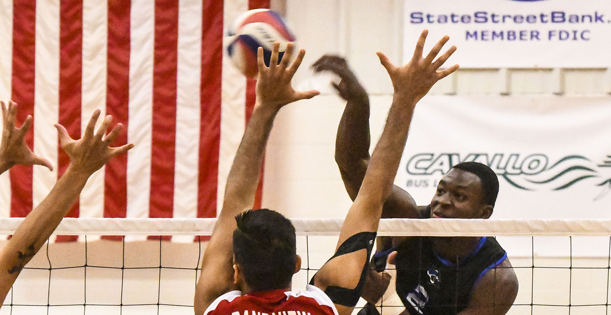 Ammuniki Wood leads the men's volleyball team in kills and blocks this season