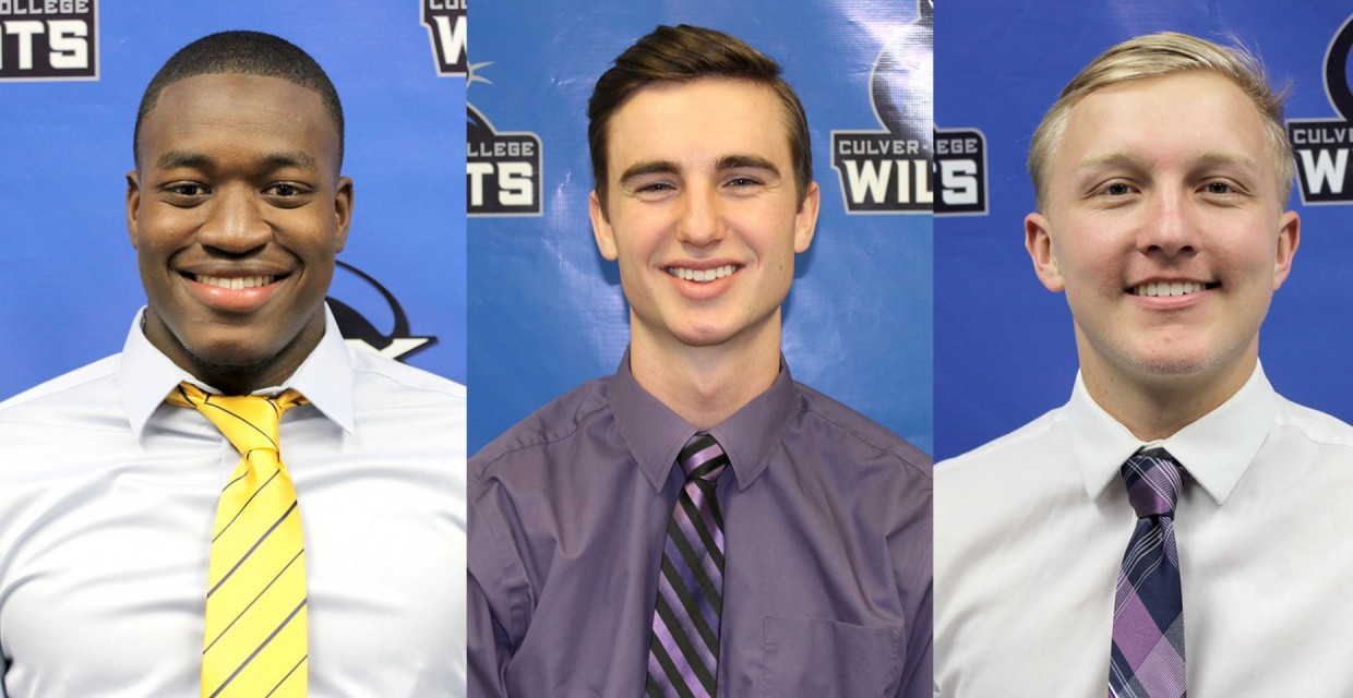 Ammuniki Wood (left), Jayden Happel (middle) and Grant Thompson were named NAIA Scholar-Athletes