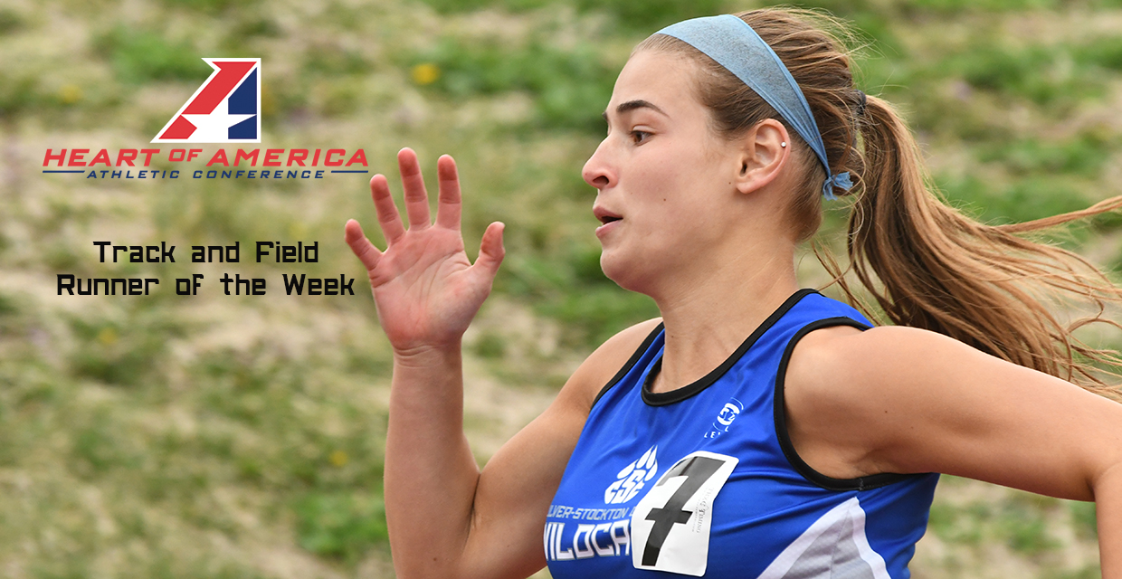 Paige Bray was named the Heart of America Athletic Conference Track Athlete of the Week for the third time