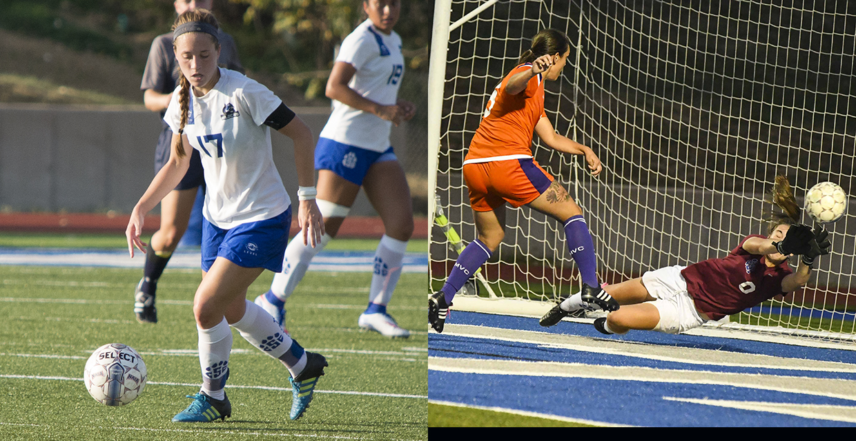 Leah Miller, left, and Kehley Bitzas earned conference player of the week honors for Oct. 2-8